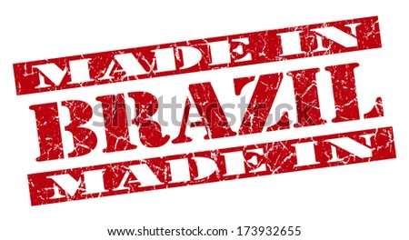made in Brazil grunge red stamp - stock photo