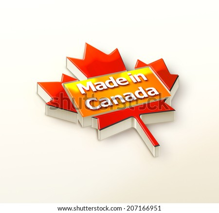 Made in Canada 3D illustration-logo - stock photo