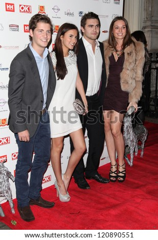 Made in Chelsea's Stevie Johnson, Lucy Watson, Sam Cussins arriving for the OK Magazine Christmas Party, Sway, London.  27/11/2012 Picture by: Alexandra Glen
