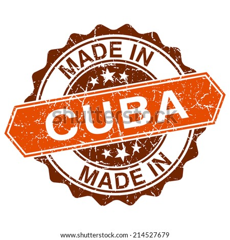 made in Cuba vintage stamp isolated on white background - stock photo