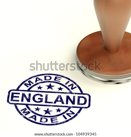 Made In England Stamp Shows English Product Or Produce
