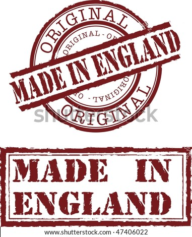 made in England stamp with red ink - stock photo