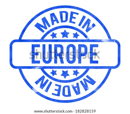Made in Europe Stamp - stock photo