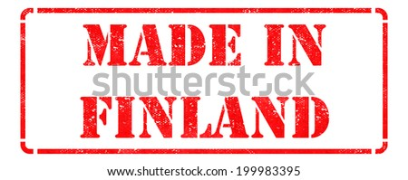 Made in Finland- inscription on Red Rubber Stamp Isolated on White. - stock photo