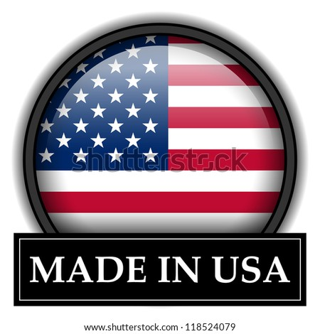 Made in flag button series - USA - stock photo
