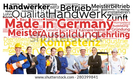 Made in Germany tag cloud in German with business and worker team - stock photo