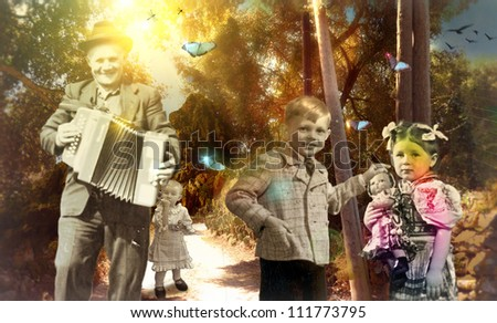 Made in Heaven - Big celebration on the dirt road - (for this photo collage are used black and white photographs of people from 1920, 1950, 1955) - mixed media, collage - stock photo