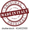 made in italy stamp with red ink - stock vector