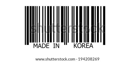 Made in Korea on abstract barcode security pattern background - stock photo