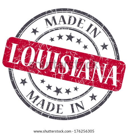 made in Louisiana red round grunge isolated stamp - stock photo
