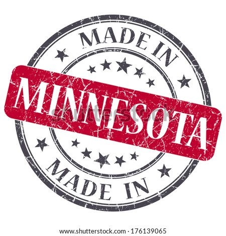 made in Minnesota red round grunge isolated stamp - stock photo