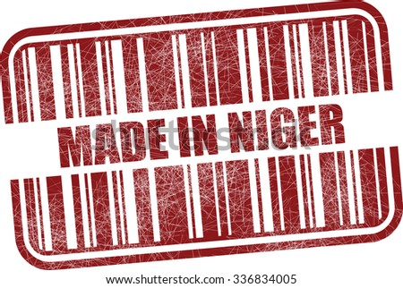 Made in Niger - red barcode grunge rubber stamp design isolated on white background. Vintage texture.  - stock photo