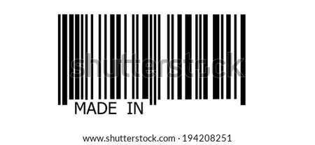Made in... on abstract barcode security pattern background