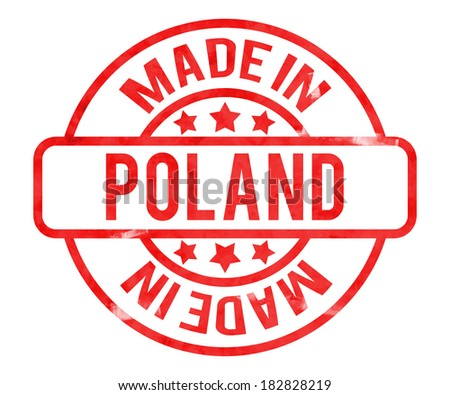 Made in Poland Stamp - stock photo