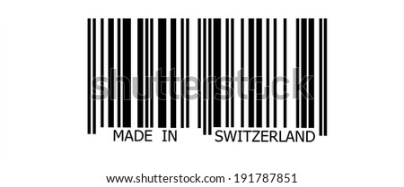 Made in Switzerland on  abstract barcode security pattern background - stock photo
