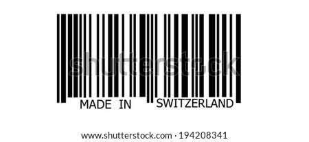 Made in Switzerland on abstract barcode security pattern background
