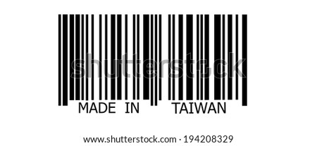 Made in Taiwan on abstract barcode security pattern background - stock photo