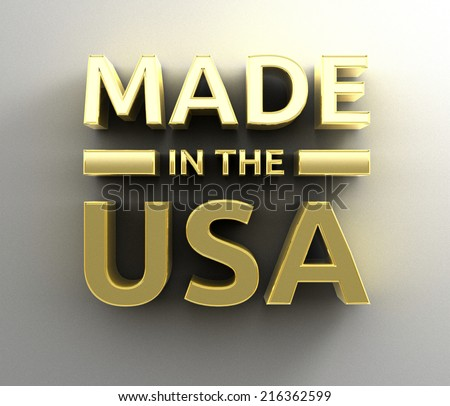 Made in the USA - gold 3D quality render on the wall background with soft shadow. - stock photo