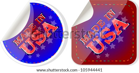 Made in the USA icon label set - raster - stock photo