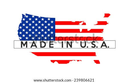 made in usa country national flag map shape illustration - stock photo