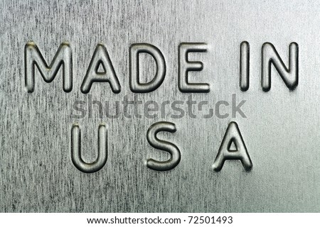 Made in USA Engraved on Steel - stock photo