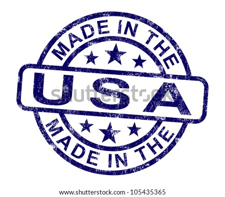 Made In USA Stamp Showing American Product Or Produce - stock photo