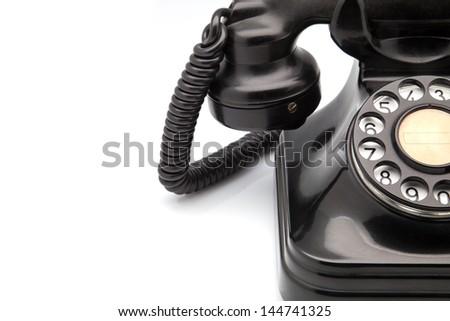 made of bakelite black telephone - stock photo