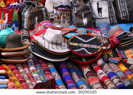 Made products in a market of Peru - stock photo