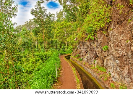Madeira, hiking along irrigation channel (Levada) - stock photo