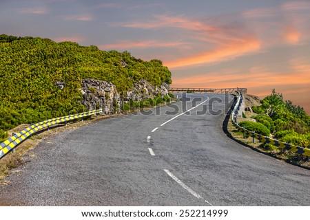 Madeira island - mountain road  - stock photo