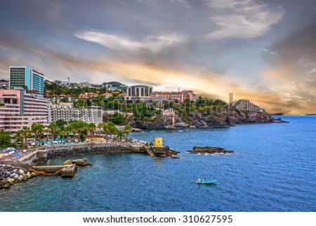 Madeira island, Portugal. Funchal sunset seaside - stock photo