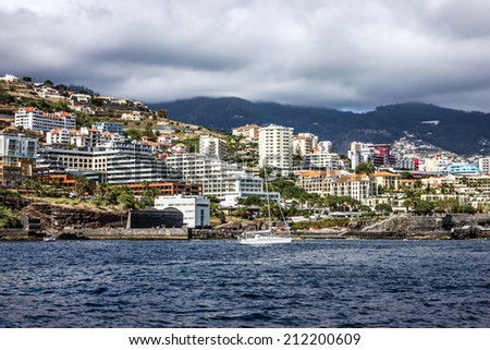 Madeira island, Portugal. Seafront houses of Funchal.  - stock photo