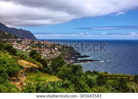 Madeira island seascape, Portu Moniz, Portugal - stock photo