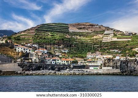 Madeira seafront, Portugal. Fishing village Camara de Lobos. - stock photo