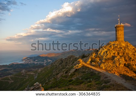 Madeloc tower in Colliure south of France - stock photo