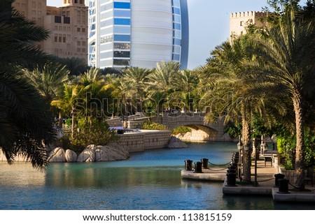 Madinat Jumeirah, Burj-al-Arab, Dubai, United Arab Emirates - stock photo