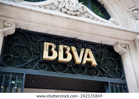 MADIRD, SPAIN - JUNE 14, 2012: BBVA Banco Bilbao Vizcaya Argentaria headquarter signage in Madrid, Spain. BBVA is a multinational banking group  from a merger of Banco Bilbao Vizcaya and Argentaria