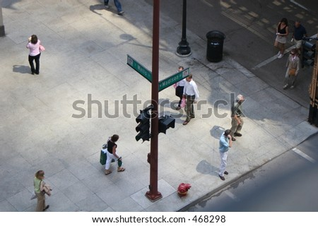 Madison and Wells in downtown Chicago - stock photo