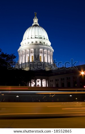Madison downtown capitol early evening - stock photo