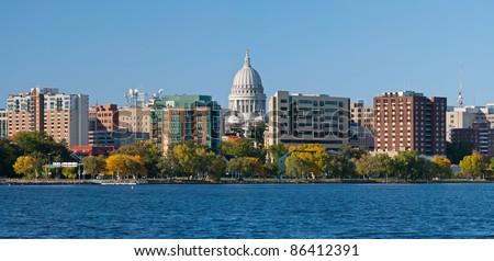 Madison. Image of city of Madison, capitol city of Wisconsin, USA. - stock photo