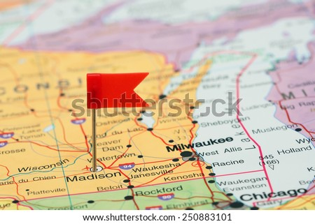 Madison pinned on a map of USA