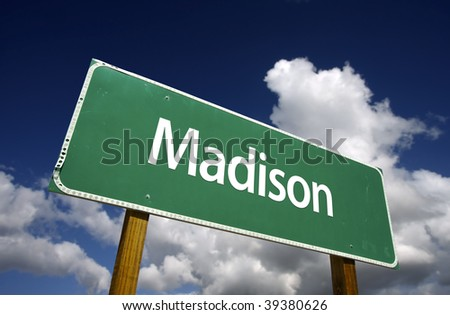 Madison Road Sign with dramatic blue sky and clouds - U.S. State Capitals Series. - stock photo