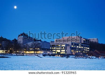 Madison - the University area - seen from frozen Lake Mendota - stock photo