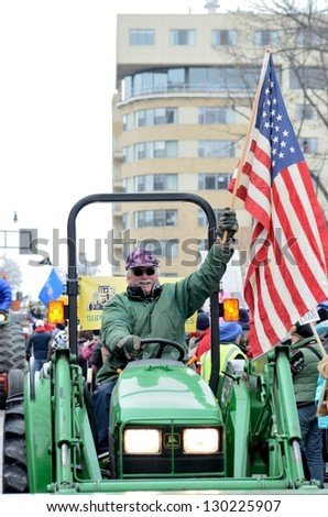 MADISON, WI - MARCH 12:Farmers in Wisconsin rally against Governor Scott Walker's budget bill on Mar 12 , 2011. Walker has won the recall election, but he still faces a new election next year