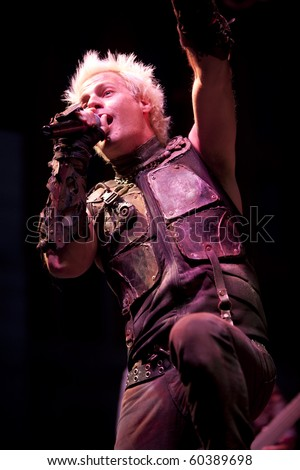 MADISON, WI - SEP. 5: Spider One (Michael Cummings) of Powerman 5000 performs live at the WJJO Rock stage at Taste of Madison in Madison, Wisconsin on September 5, 2010. - stock photo