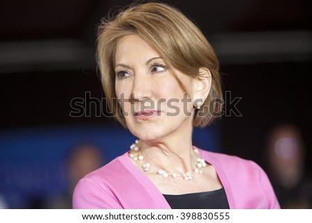 MADISON, WI/USA - March 30, 2016: Former Republican presidential candidate Carly Fiorina at a free public rally for presidential candidate Ted Cruz in Madison, Wisconsin. - stock photo