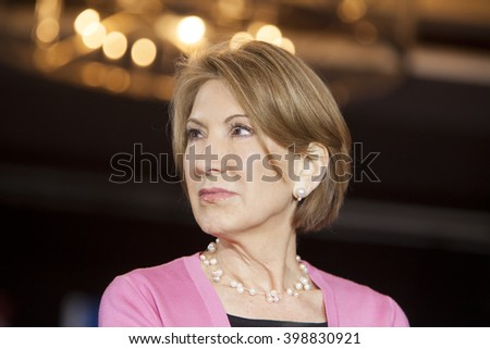 MADISON, WI/USA - March 30, 2016: Former Republican presidential candidate Carly Fiorina listens during a free public rally for presidential candidate Ted Cruz in Madison, Wisconsin. - stock photo