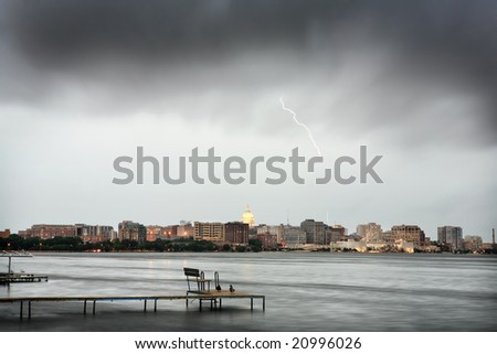 Madison Wisconsin Skyline during a thunderstorm (long exposure) - stock photo