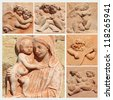 Madonna and child and angels collage, traditional decorative tiles from tuscan terracotta, Impruneta,Florence, Italy, Europe - stock photo