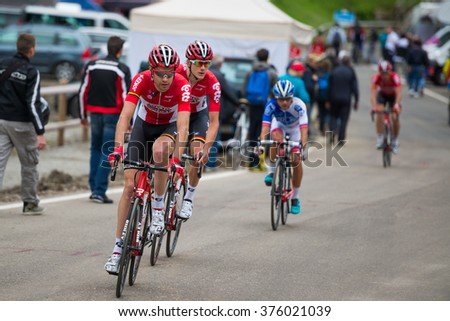 Madonna di Campiglio, Italia 24 maggio 2015; Group of professional cyclists during the fifteenth stage of the Tour of Italy 2015. Stage mountain from Marostica to Madonna di Campiglio.